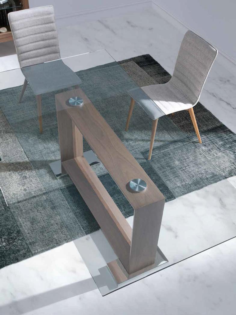 Mesa de comedor con tope de cristal dt309 mia home for Mesas de cristal y madera para comedor