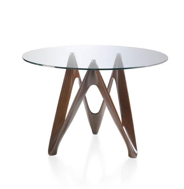 Mesa de cristal templado redondo y base de nogal for Mesa vidrio redonda para comedor