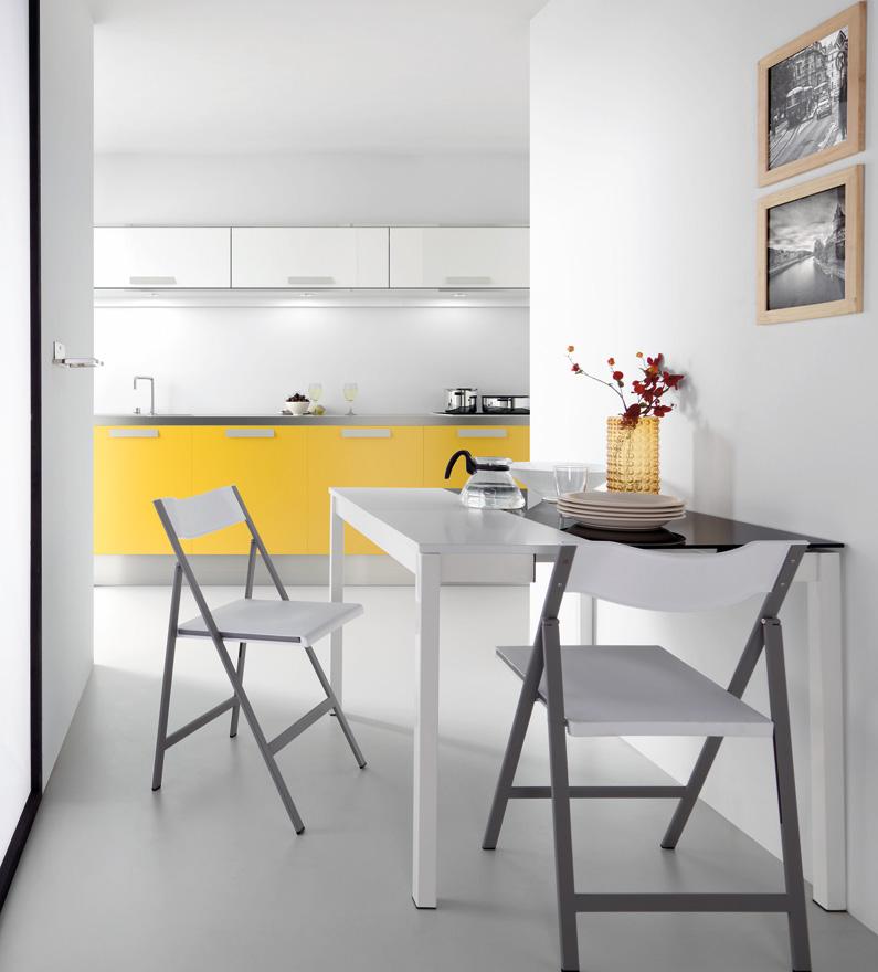 Mesa cocina blanca y gris for Mesa de cocina industrial