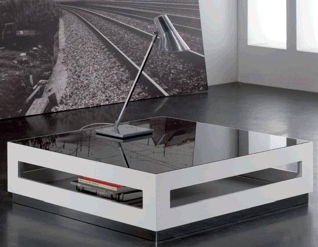 Mesa de centro lacada gerona - Mesas de centro de cristal ...