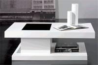 Mesa de centro con cajón y cristal decorativo TRAMA - Mesa de centro rectangular, con un práctico cajón y cristal decorativo modelo TRAMA