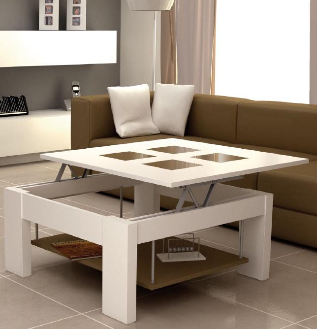 Mesa centro lujosa con estilo tablero elevable for Mesa centro puff