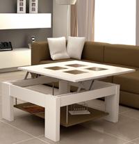 Estilosa mesa de centro con tablero elevable, bandeja y puffs - Estilosa mesa de centro con tablero elevable, bandeja y puffs