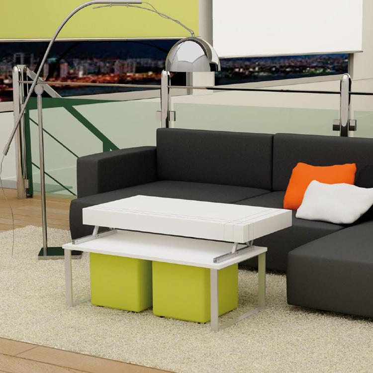 Fresca y exclusiva mesa baja con tablero elevable y puffs - Mesas bajas de salon ...