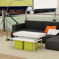Fresca y exclusiva mesa baja con tablero elevable y puffs - Fresca y exclusiva mesa baja con tablero elevable y puffs