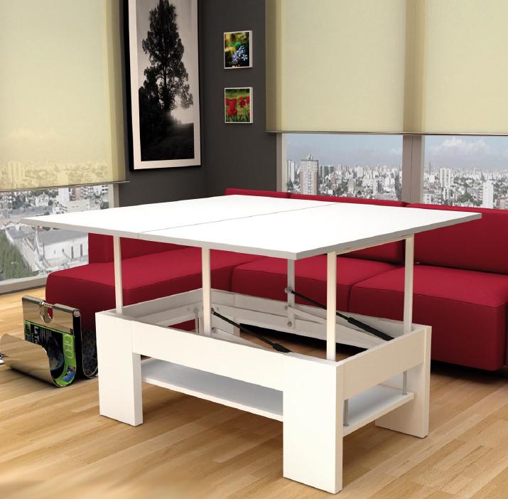 Mesa centro tablero convertible en amplia mesa alta - Mesas elevables y extensibles ...