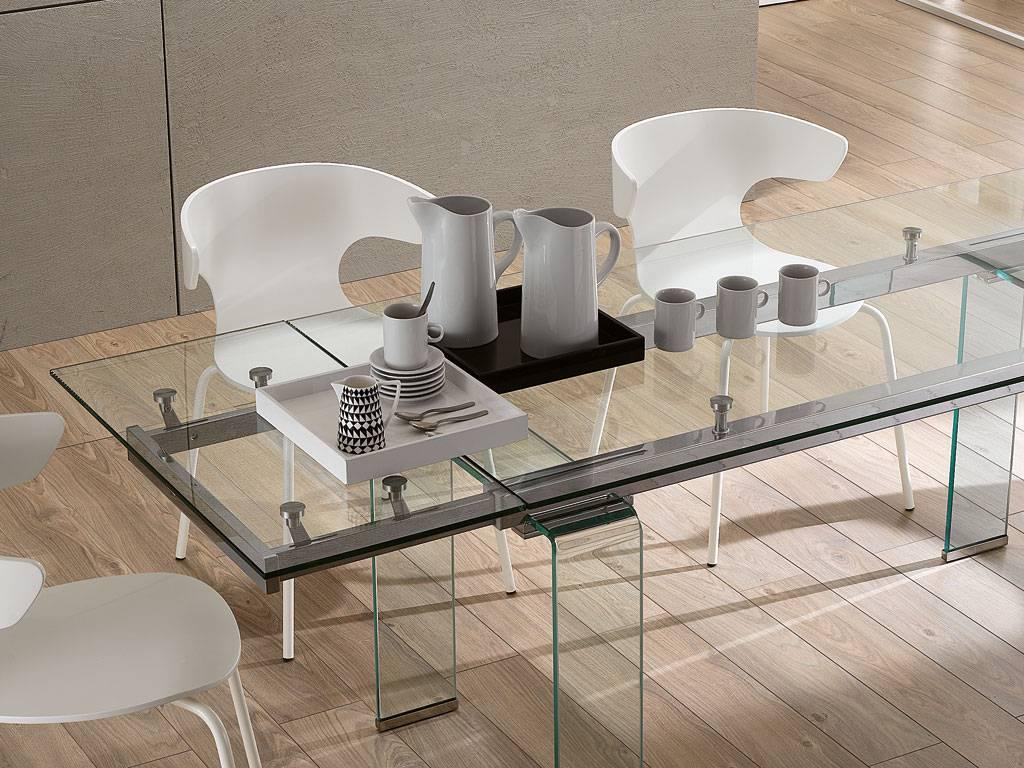 Mesa comedor extensible transparente cristal templado for Adornos mesa comedor cristal