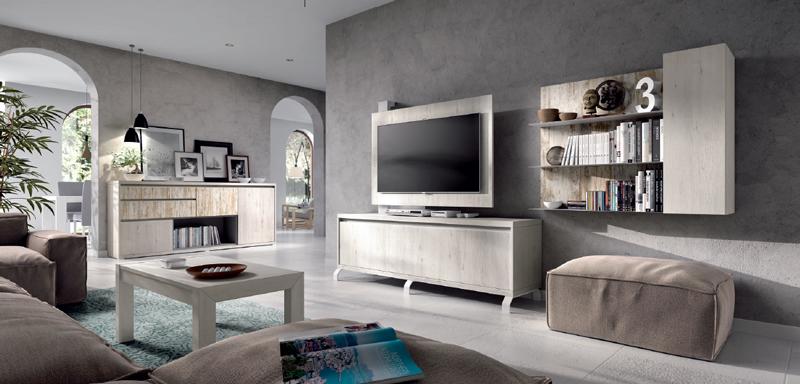 Salón moderno 2903 colección KAY - Muebles de salón 2903 colección KAY, Ambiente diáfano de salón comedor con un mueble contenedor y panel giratorio para la Televisión