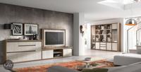 Salón moderno 2911 colección KAY - Mueble de salón 2911 colección KAY, Ambiente con mobiliario modular con dos tipos de composiciones, una para acompañar al televisor y la otra con Vitrinas y Estanterías para complementar la zona del comedor
