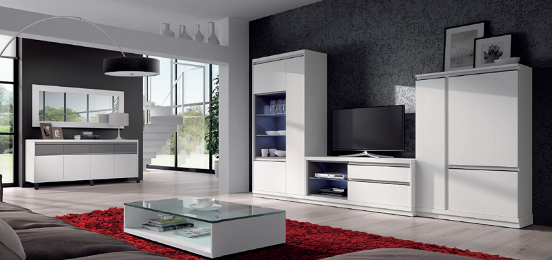 Salón moderno 2912 colección KAY - Muebles de salón 2912 colección KAY, Las composiciones de muebles en color Blanco como esta nos aportan gran luminosidad y sensación de espacio en la casa