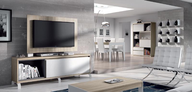 Salón moderno 2915 colección KAY - Muebles de salón 2915 colección KAY, En muchos casos con un simple Mueble TV acompañado por un Panel TV tenemos suficiente para nuestra zona de salón y así lo acompañamos con un bonito Aparador y Estantes metálicos