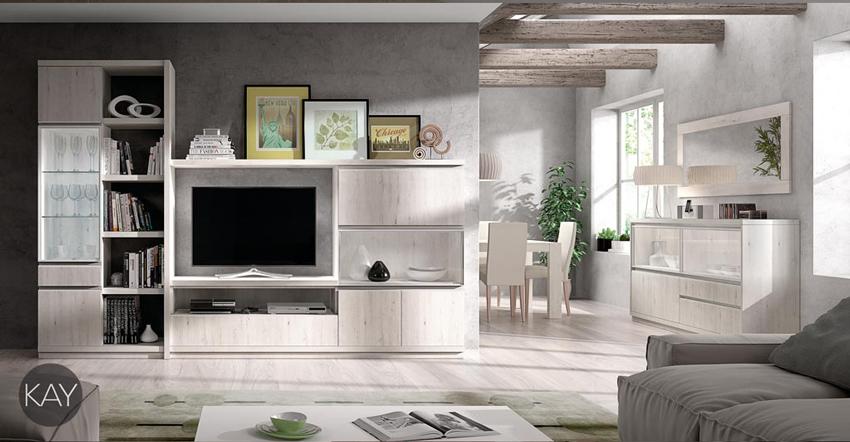 Salón moderno 2923 colección KAY - Muebles de salón 2923 colección KAY, Si mezclamos el color Fresno con una distribución de los muebles más tradicional tendremos una estética Rustica-Moderna que le puede dar un toque diferente a nuestro hogar