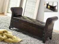 Baúl pie de cama , banco descalzadora - Baúl pie de cama oscuro