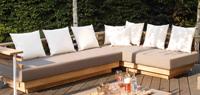 Set de sofá para exterior en teca y batyline modelo London - Set de muebles de sofá en teca para exterior LONDON