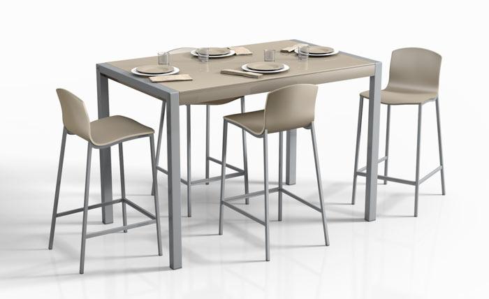 Mesas de cocina extensibles de colores for Mesas de comedor altas