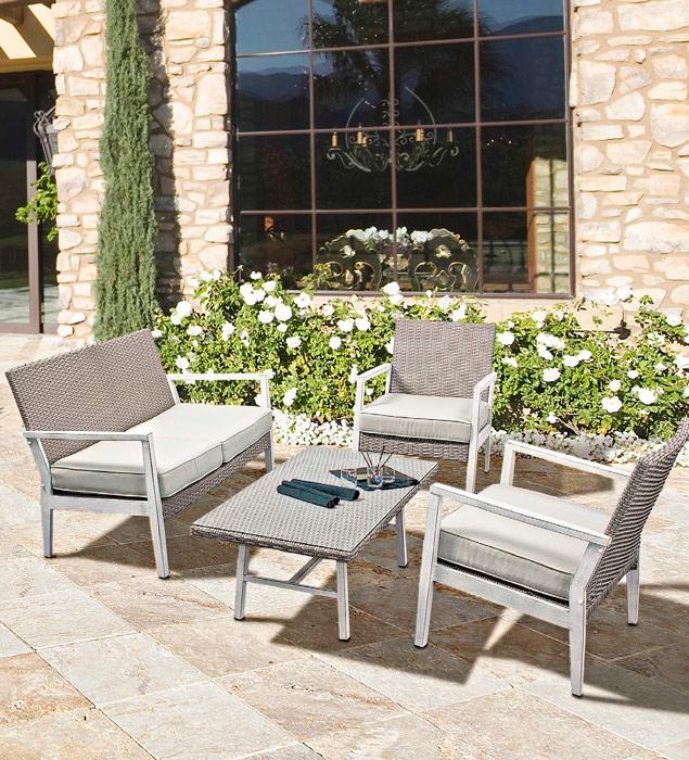Set de sofa, sillónes y mesa de centro Flash set de aluminio - Set de sofa, sillón y mesa de centro Flash Conjunto para exterior de aluminio