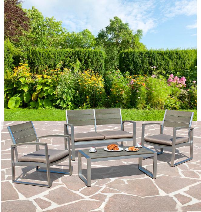 Set de muebles C-C Otis de aluminio - Set de muebles C-C Otis / Incluye: 1 Sofa, 2 Sillónes y 1 mesa de centro Conjunto de aluminio para exterior
