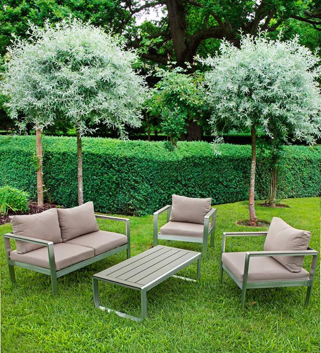 Set de muebles C-C JAKOB de aluminio - Set de muebles C-C JAKOB / Incluye: 1 Sofa, 2 Sillónes y 1 mesa de centro Conjunto de aluminio para exterior