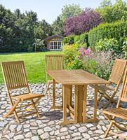 Mesa plegable York Rett o silla Island - Mesa plegable York Rett o silla Island, mesa y silla maciza de teca para exteriores