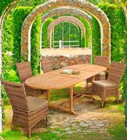 Mesa ALLUNG TEAK o Sillónes IBLIS - Mesa extensible ALLUNG TEAK o Silla IBLIS, mesa maciza de teca para exteriores