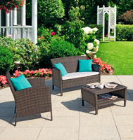 Set de muebles sofá HOP - Set de 4 muebles sofá HOP para exteriores 1 Sofá, 2 sillones y 1 mesa de centro