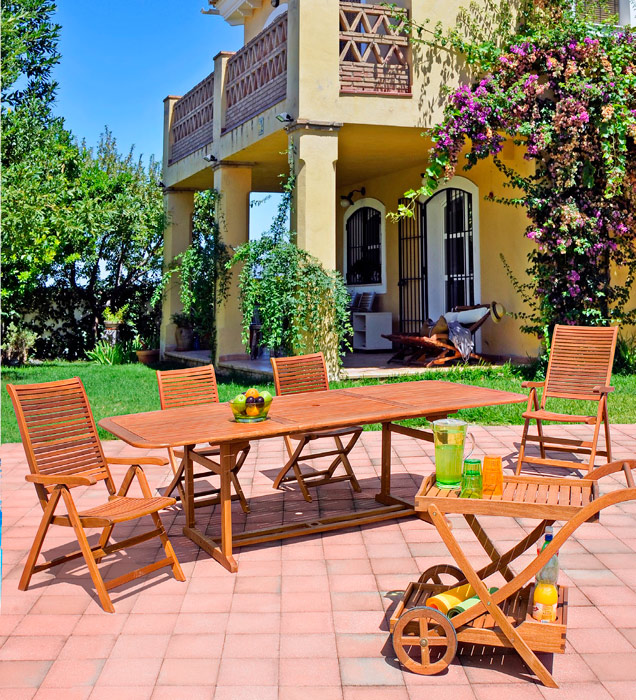 Comedor mesa rectangular ovalada madera de balau for Juego comedor terraza madera