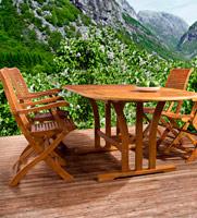 Comedor mesa y sillas de madera para exteriores - Madera de Eucalipto FSC  100%