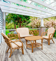 Juego de muebles de rattan para exteriores - 2 sillas + sofá 3p + mesa