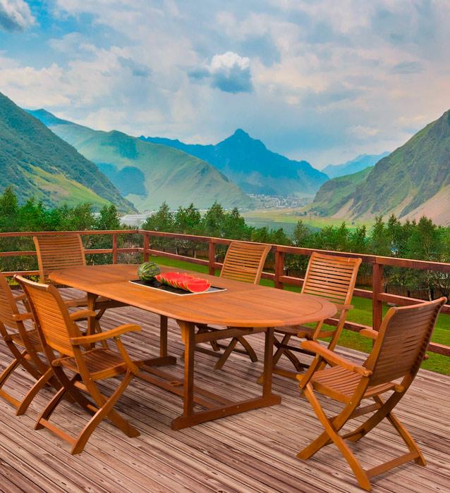 Juego comedor madera para jard n for Mesa 4 sillas homecenter