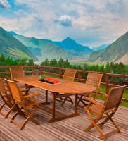 Comedor mesa y sillas de madera Balau para exteriores - Mesa ovalada o rectangular