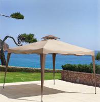 Toldo con estructura plegable de hierro color beige - Con solapa y chimenea