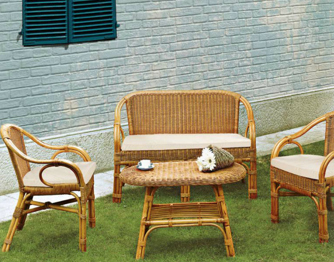Conjunto muebles de rattan y mimbre for Conjunto muebles terraza jardin