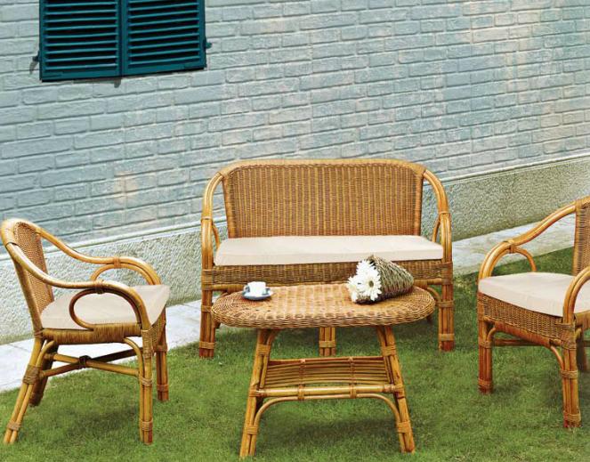 Conjunto muebles de rattan y mimbre for Sofa mimbre terraza
