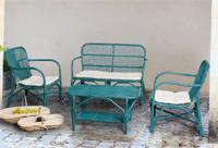 Juego sofá sillón y mesa rattan 1 - Acabado color envejecido