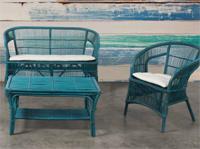 Juego sofá sillón y mesa rattan 2 - Acabado color envejecido