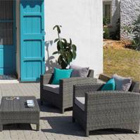 Sofá sillones y mesa centro para exteriores 8 - Estructura de aluminio tejido polirattan