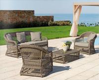 Conjunto sofás y sillones exterior - Estructura aluminio tejido polirattan