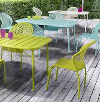 Conjunto comedor mesas y silla estructura acero poliratan - Disponible en 4 colores