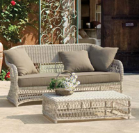 Conjunto sofá sillón y mesa para exterior - Estructura aluminio tejido polirattan