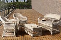Sofá sillones y mesa baja de rattan para exteriores - Estructura de aluminio