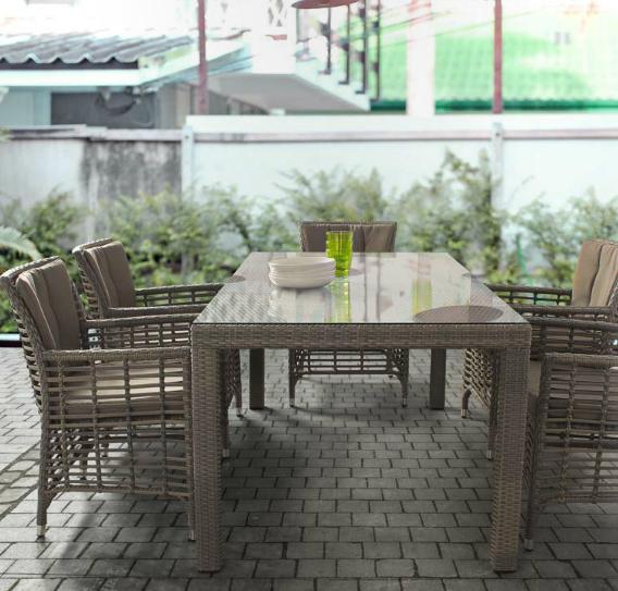 Mesa cuadrada y sillas de polirattan para exteriores - Estructura de aluminio tejido polirattan
