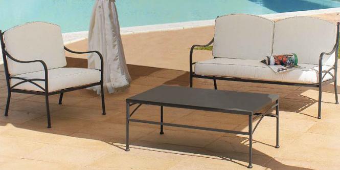 Sofá sillón y mesa de exteriores estructura hierro -