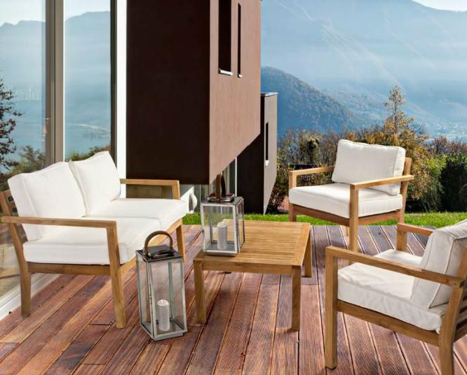 Sof sillones y mesa de centro de teca exteriores for Muebles de teka