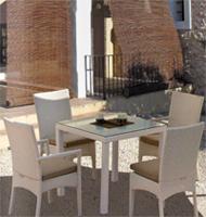 Mesas de comedor cuadrada y rectangular extensible para exteriores - Tejido de polirattan estructura aluminio y hierro