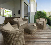 Sofá sillones y mesa centro para exteriores 7 - Estructura de aluminio tejido polirattan