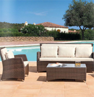 Sofá sillones y mesa centro para exteriores 9 - Estructura de aluminio tejido polirattan
