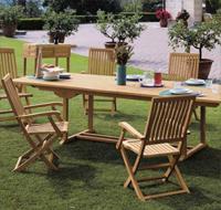 Juego comedor madera Teca para exteriores - Mesa con doble extensión y sillas plegables