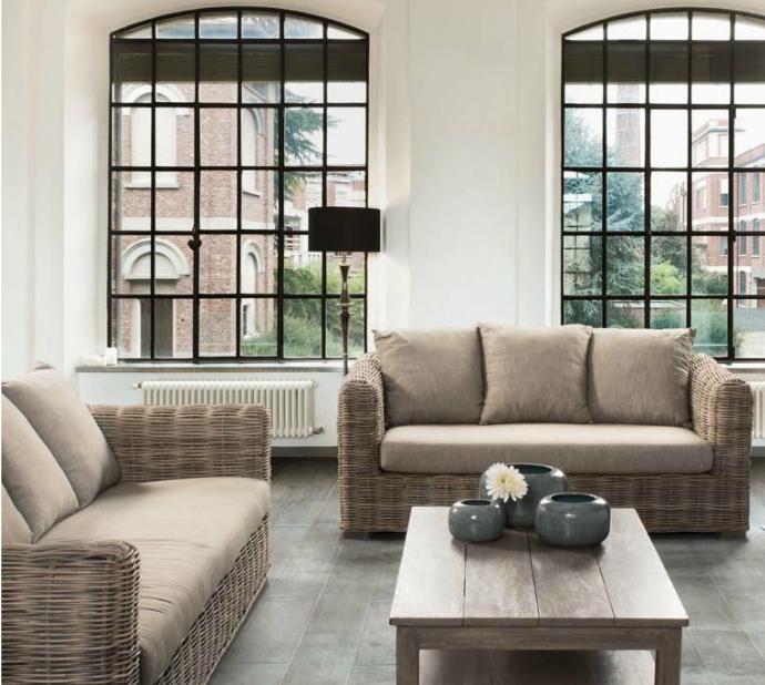 Conjunto salon Sofás y mesa centro 2 - Estructura en madera de Mango, para interiores