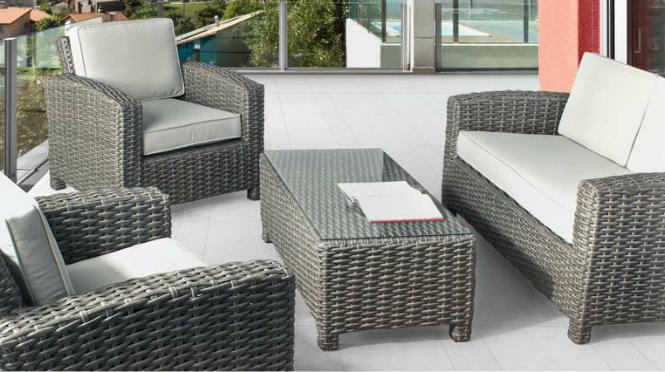 Sofá sillones y mesa centro para exteriores 6 - Estructura de aluminio tejido polirattan