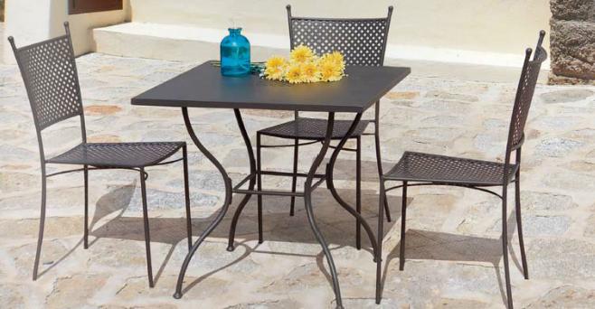 Comedor mesa cuadrada y redonda hierro for Comedor para jardin